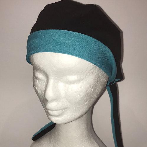 Scrub Cap Black/Teal with Black, White or Blue