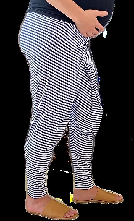 """JC Maternity Pants """"Stripy Jo's"""" Navy and White"""