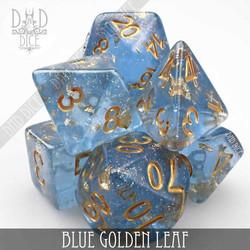 Blue Golden Leaf Dice Set