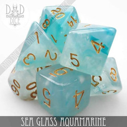 Sea Glass Aquamarine Dice Set