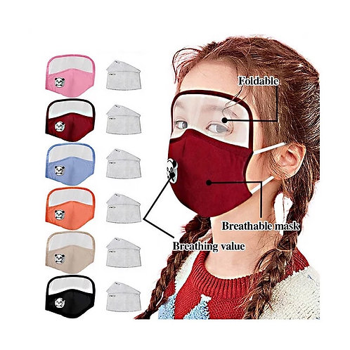 Reusable Kids Mask With Eye Shield, Breathing Valve & Filters