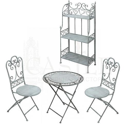 Комплект кованой мебели (стол, 2 стула, этажерка)
