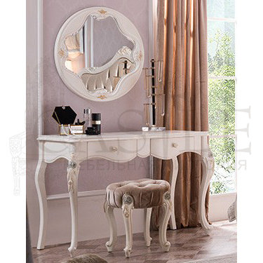 Туалетный стол с зеркалом и пуфом Luisa MK-5003-WG, CM-M-520