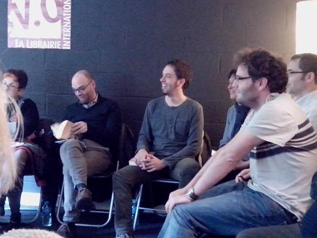 Presentación en la Librairie V.O. de Lille, con Rafa Marín, Berta Martín, Benjamín Torres et ál. (27/4/2013). Foto: Rosó Gorgori