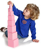 Montessori Pink Tower as used at Bright Sparks Montessori Frimley
