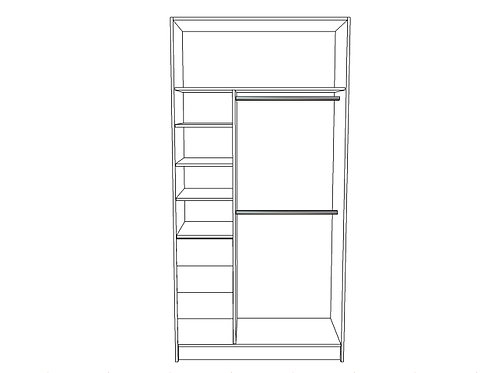 Double hanging bar, small shelving bottom locker L