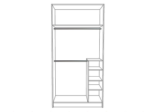 Double hanging bar, small shelving bottom locker Left or Right