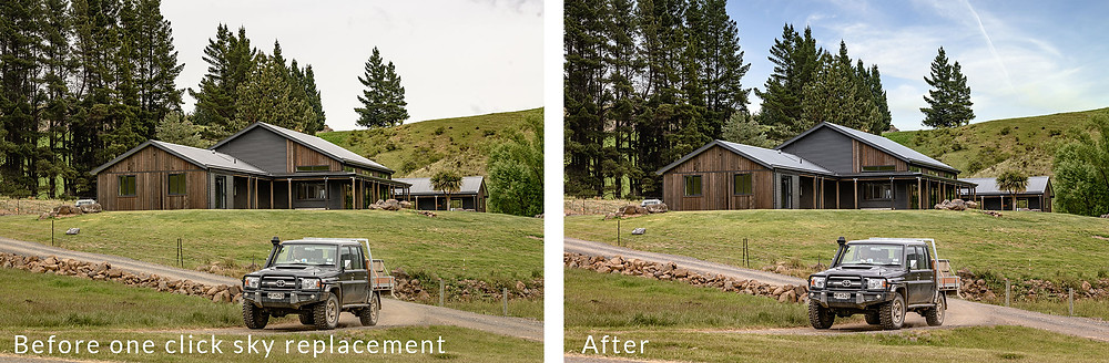 Before and after example of Luminar's powerful AI sky replacement