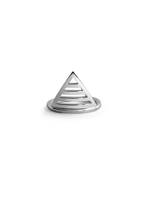 Trikona ring made using eco silver