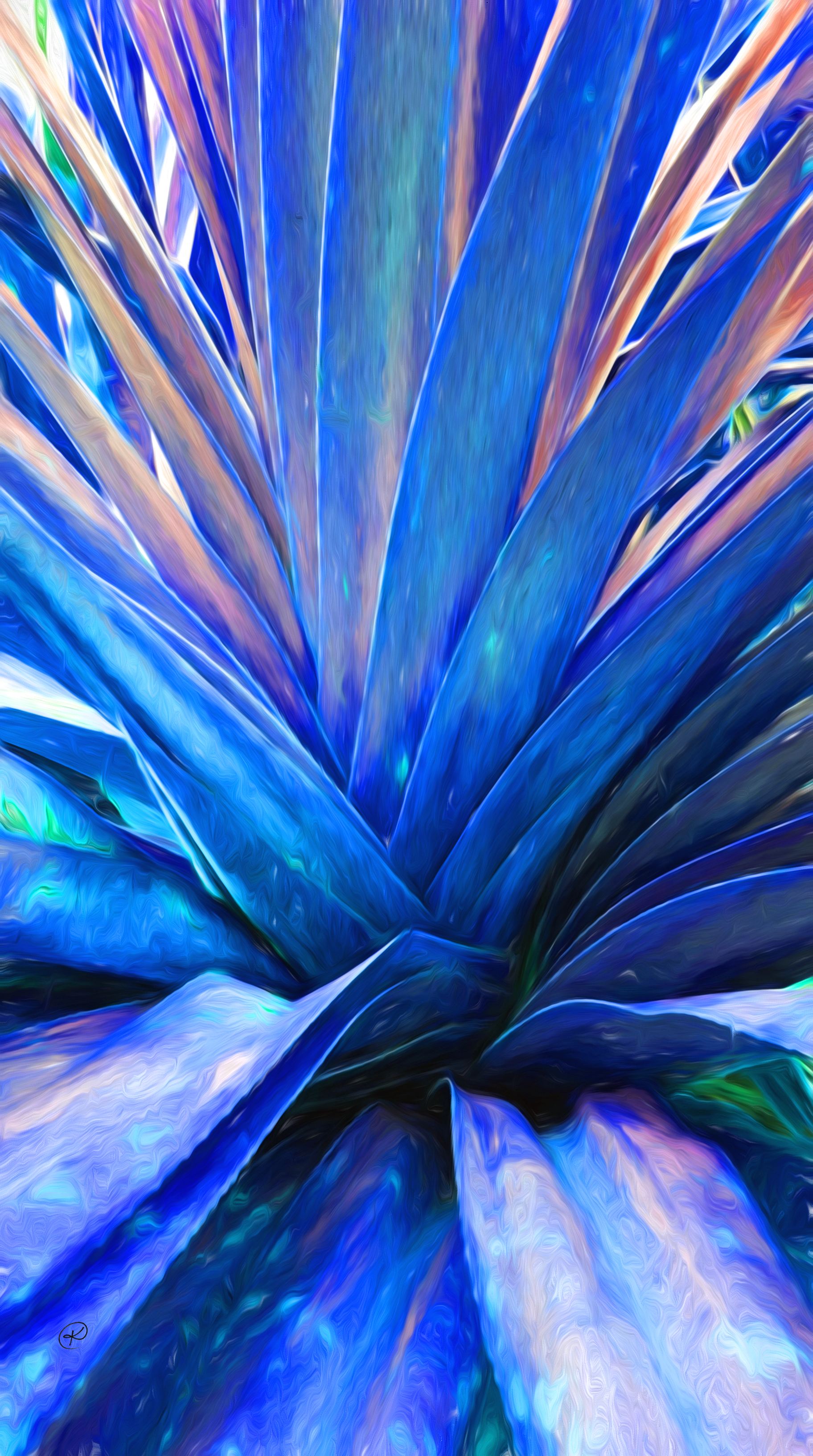 Plant liquid lines- vibrant blue