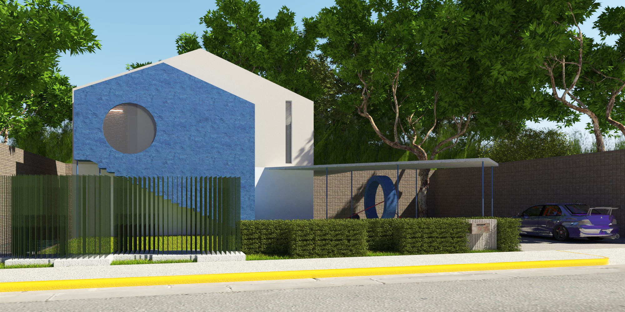 Blue House for a Small Family