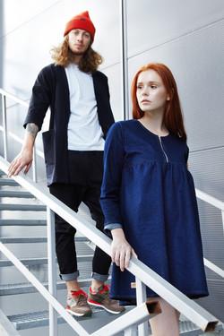 джинсовое платье и кардиган