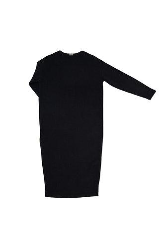 Adītas trikotāžas kleita (melna/black)