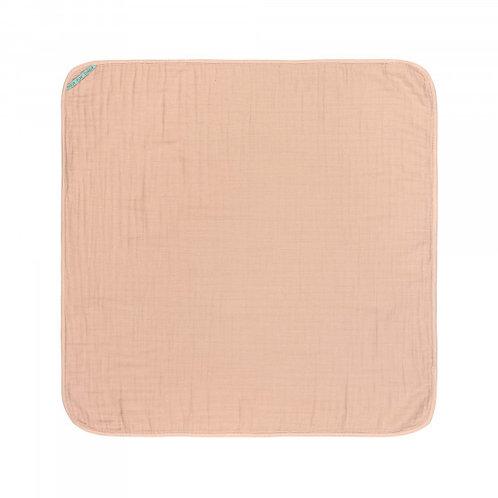 Dvielis ar kapucīti (kokvilnas muslīna) (rozā)