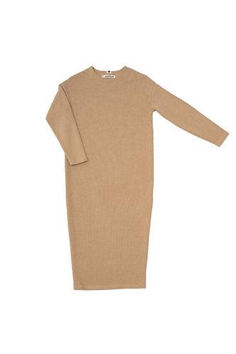 Adītas trikotāžas kleita (okers/ocher)