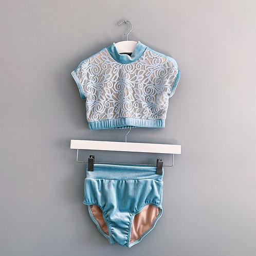 Prima Dancewear Velvet Lace Crop Top Set