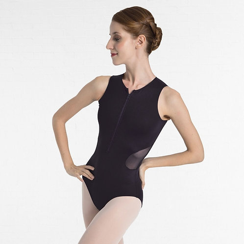 Intermezzo Zipper Front Sleeveless Leotard with Mesh Side Cut Out