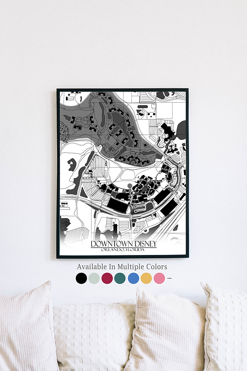 Print of Downtown Disney and all its roads