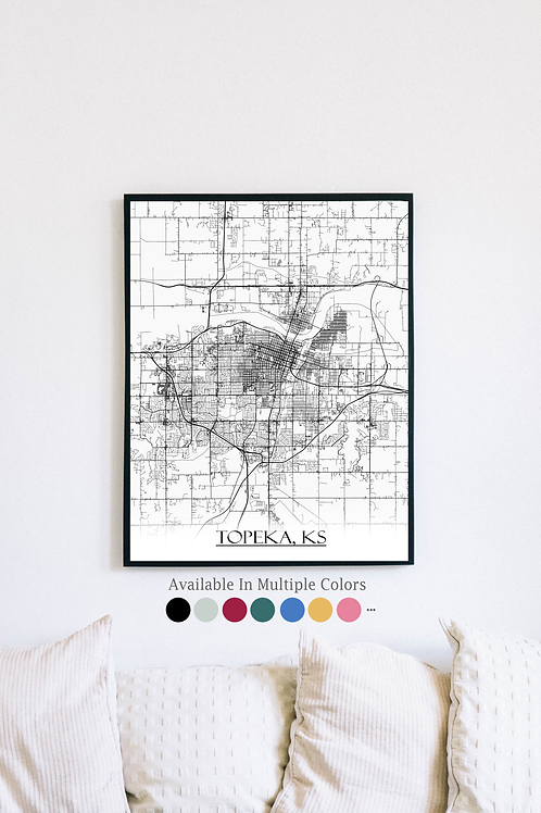 Print of Topeka, KS and all its roads
