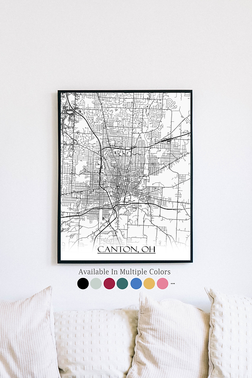 Print of Canton, Ohio and all its roads