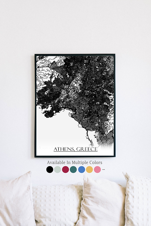 Print of Athens, Greece and all its roads