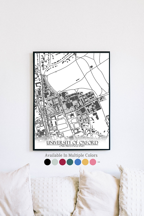 Print of Oxford University and all its roads
