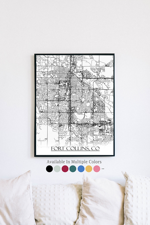 Print of Fort Collins, CO and all its roads
