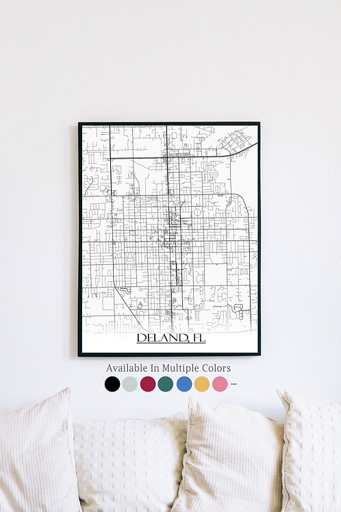 Print of Deland, FL and all its roads
