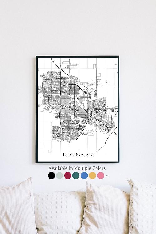 Print of Regina and all its roads