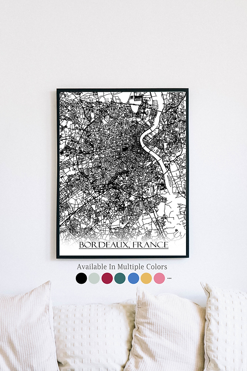 Print of Bordeaux, France and all its roads