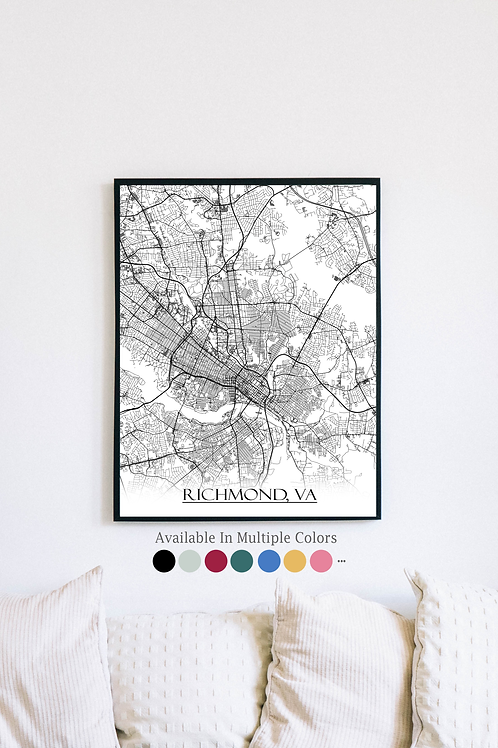 Print of Richmond, VA and all its roads