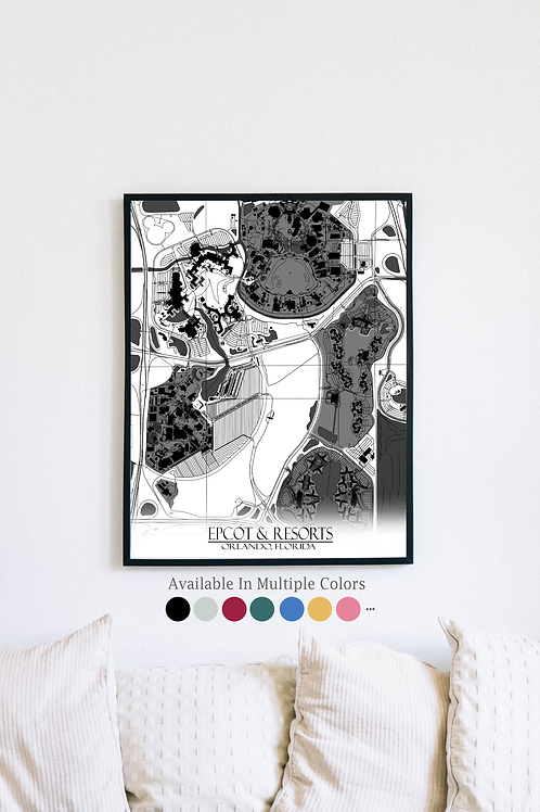 Print of Epcot & Resorts and all its roads