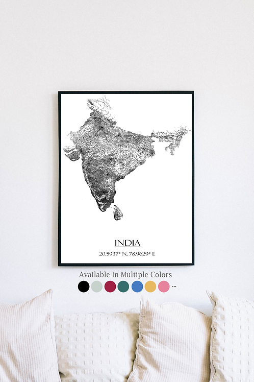 Print of India and all its roads