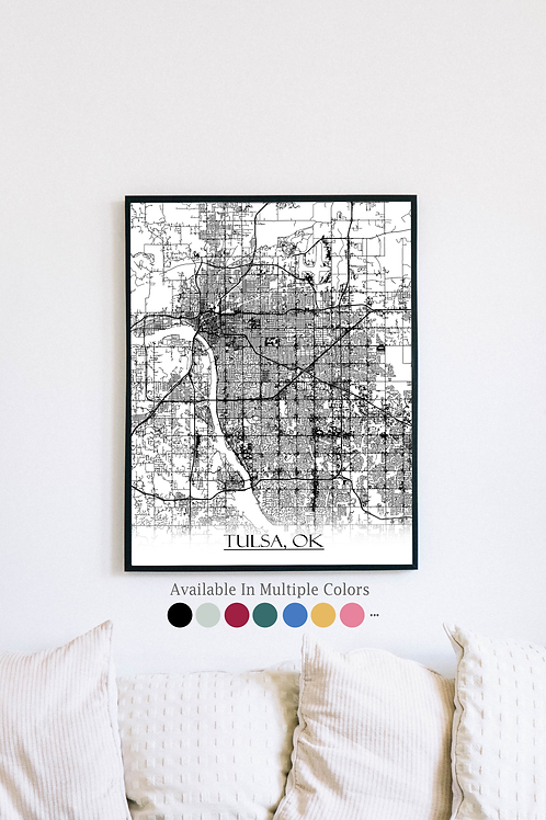 Print of Tulsa, OK and all its roads