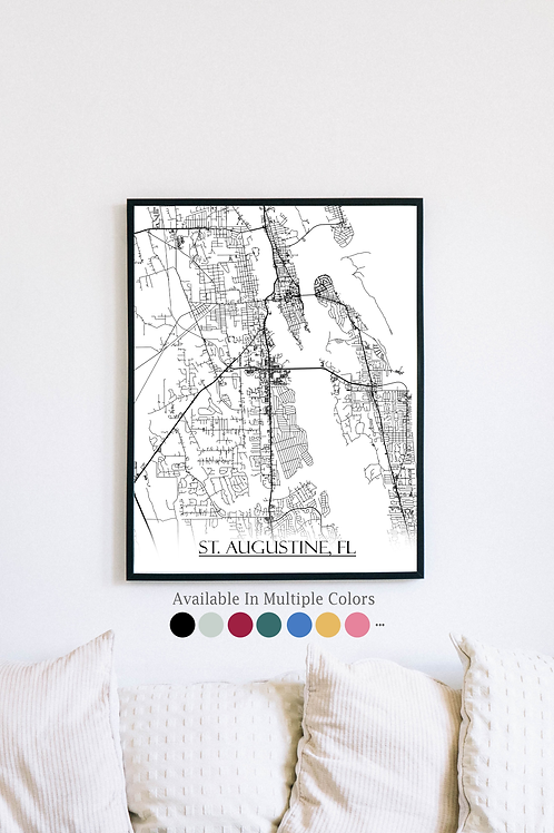 Print of St. Augustine, FL and all its roads