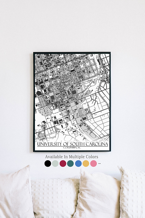 Print of University of South Carolina and all its roads