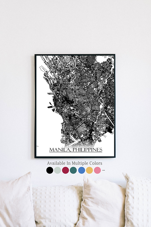 Print of Manila, Philippines and all its roads