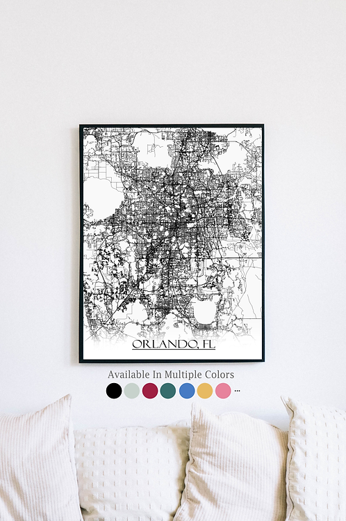 Print of Orlando, FL and all its roads