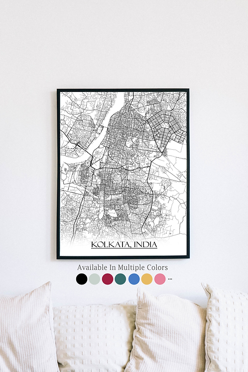 Print of Kolkata, India and all its roads