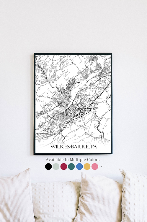 Print of Wilkes-Barre, PA and all its roads