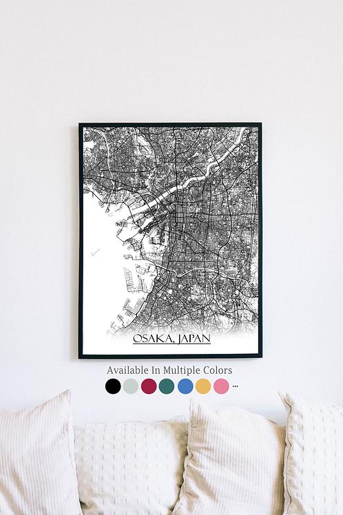 Print of Osaka, Japan and all its roads