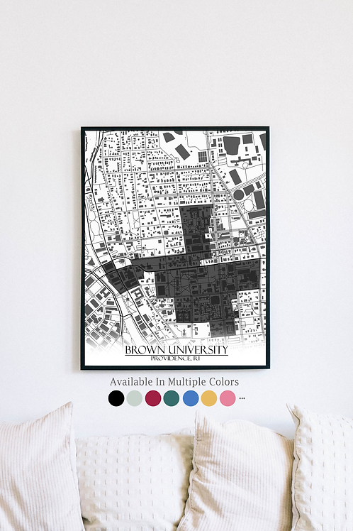 Print of Brown University and all its roads