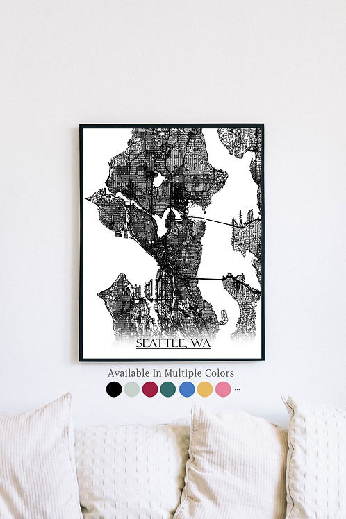 Print of Seattle, WA and all its roads