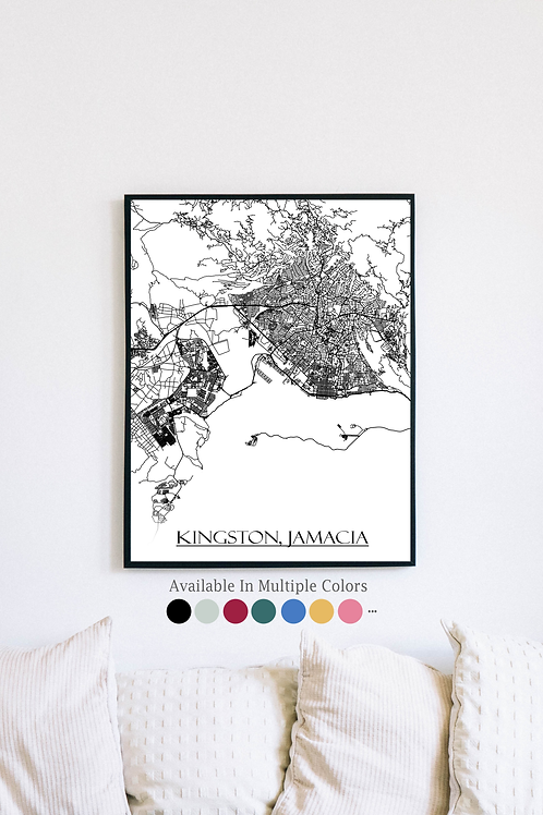 Print of Kingston, Jamacia and all its roads