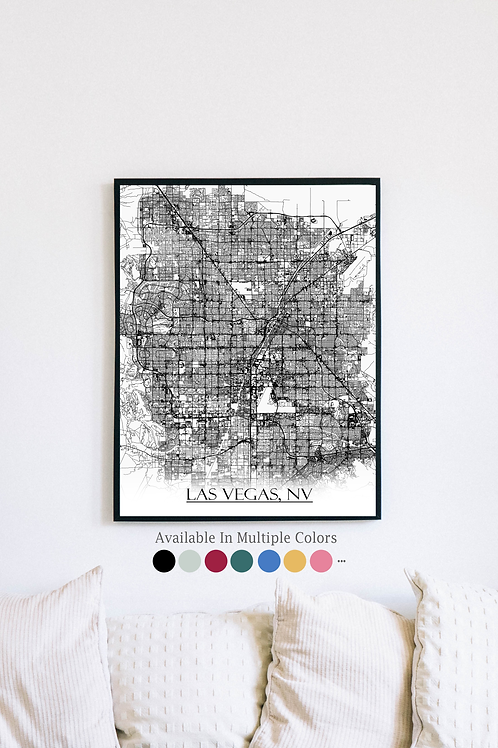 Print of Las Vegas, NV and all its roads