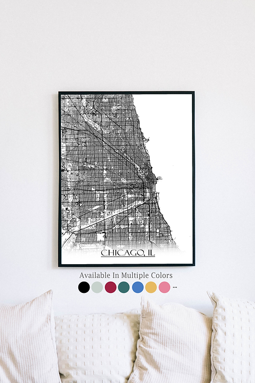 Print of Chicago, IL and all its roads