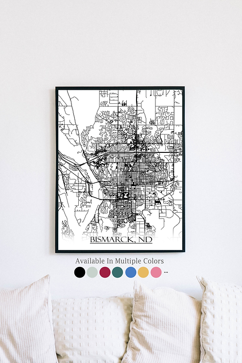 Print of Bismarck, ND and all its roads