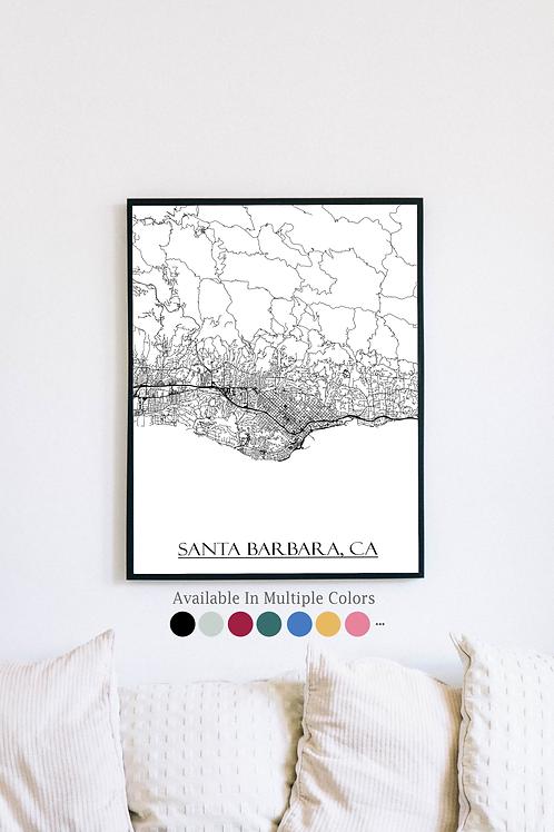 Print of Santa Barbara, CA and all its roads