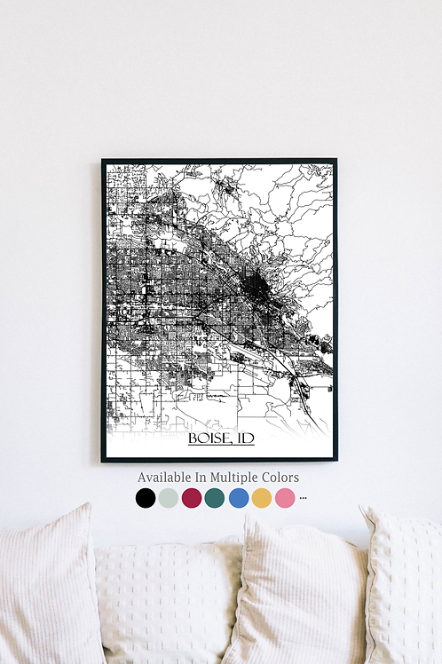 Print of Boise, ID and all its roads