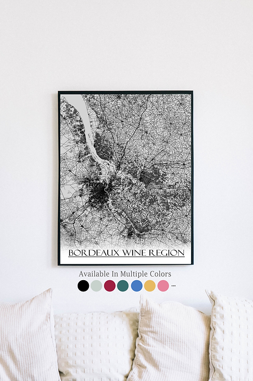 Print of Bordeaux Wine Region, France and all its roads